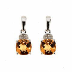 Boucles d'oreilles Citrine Coussin 6mm et Diamant en Or Blanc 375