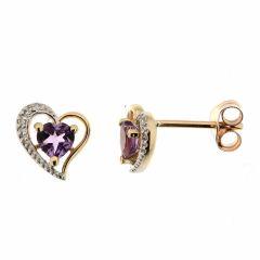 Boucles d'oreilles Coeur Amethyste et Diamant en Or Jaune 375