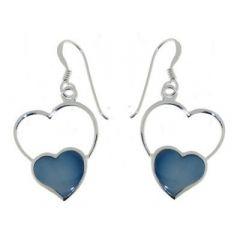 Boucles d'oreilles Coeur Argent  Nacre Bleue