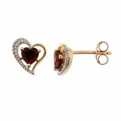 Boucles d'oreilles Coeur Grenat et Diamant en Or Jaune 375