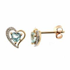 Boucles d'oreilles Coeur Topaze bleue traitée et Diamant en Or Jaune 375