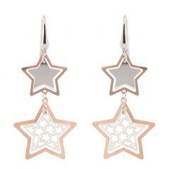 Boucles d'oreilles étoiles en argent 925 rhodié et rosé