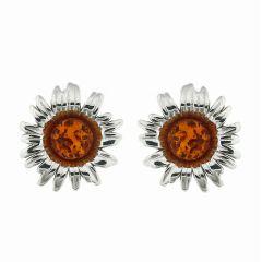 Boucles d'oreilles Fleurs Ambre et Argent 925