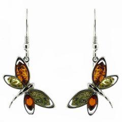 Boucles d'oreilles Libellules Ambre Multicolore et Argent 925