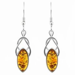 Boucles d'oreilles Noeud d'amour Celtique Ambre et Argent 925