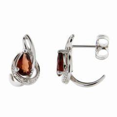 Boucles d'oreilles Or Blanc 375 Grenat Poire et Diamant