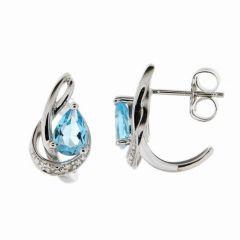 Boucles d'oreilles Or Blanc 375 Topaze Poire et Diamant