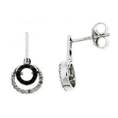 Boucles d'oreilles Or Blanc 750 Diamant Blanc & Noir 0.17 carat
