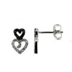 Boucles d'oreilles Or Blanc 750 Diamant Blanc & Noir 0.22 carat