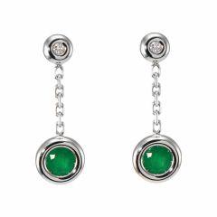 Boucles d'oreilles Or Blanc 750  Emeraude et Diamant