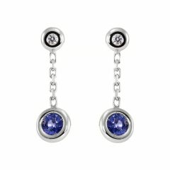 Boucles d'oreilles Or Blanc 750 Saphir et Diamant