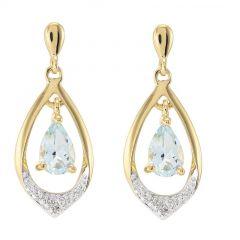 Boucles d'oreilles Or jaune 375 Aigue Marine poire 6x4mm et diamant