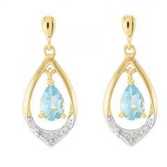 Boucles d'oreilles Or jaune 375 Topaze Bleue poire 6x4mm et diamant