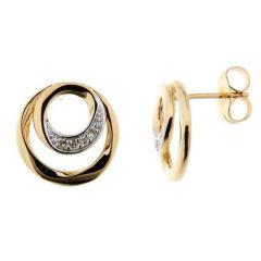 Boucles d'oreilles Or Jaune 750  Diamant  0.04 carat