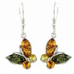 Boucles d'oreilles Papillons Ambre Multicolore et Argent 925