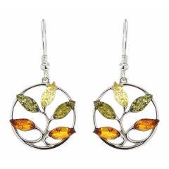 Boucles d'oreilles pendantes Arbre de Vie en Argent et Ambre Multicolore