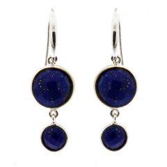 Boucles d'oreilles Pendantes Argent 925 et Lapis Lazuli ronds