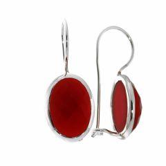 Boucles d'oreilles Pendantes Argent Cornaline Ovale 13x10mm