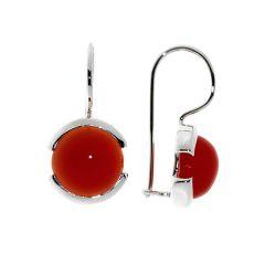 Boucles d'oreilles Pendantes Argent Cornaline Ronde 10mm