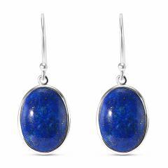 Boucles d'oreilles pendantes Argent et  Lapis Lazuli Ovale 16x12mm