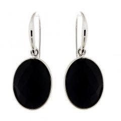 Boucles d'oreilles pendantes Argent et  Onyx Ovale 16x12mm