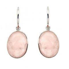 Boucles d'oreilles pendantes Argent et Quartz Rose