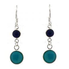 Boucles d'oreilles pendantes Argent, Lapis et Turquoise