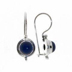 Boucles d'oreilles Pendantes Argent Lapis Lazuli Rond 7mm