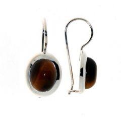 Boucles d oreilles Pendantes Argent Oeil de Tigre Ovale 10x8mm