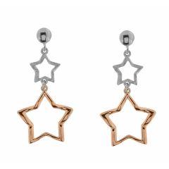 04d2e73e21ad Boucles d oreilles pendantes argent rhodié bicolores motif étoile