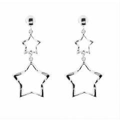 182389eecc04 Boucles d oreilles pendantes argent rhodié motifs étoiles