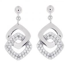 3a12bb2db68c1 Boucles d oreilles pendantes en Argent 925 rhodié et oxyde de zirconium