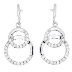 Boucles d'oreilles pendantes en Argent 925 rhodié et oxyde de zirconium