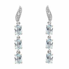 Boucles d'oreilles Pendantes Or Blanc 375 Aigue Marine et Diamant