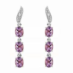 Boucles d'oreilles Pendantes Or Blanc 375 Améthyste et Diamant