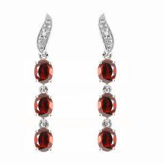 Boucles d'oreilles Pendantes  Or Blanc 375 Grenat Ovale et Diamant