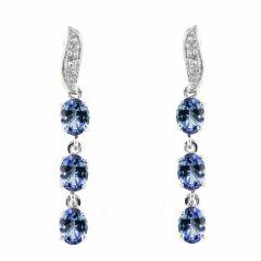 Boucles d'oreilles Pendantes Or Blanc 375 Tanzanite et Diamant