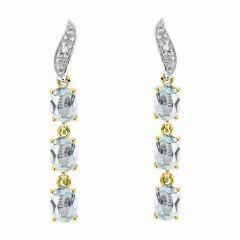 Boucles d'oreilles Pendantes Or Jaune  375 Aigue Marine et Diamant