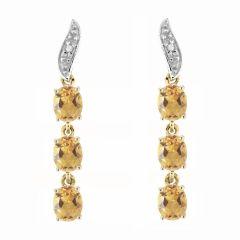 Boucles d'oreilles Pendantes Or Jaune 375 Citrine et Diamant