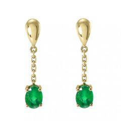 Boucles d'oreilles pendantes Or Jaune 750 Emeraude