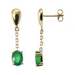 Boucles d'oreilles pendantes Or Jaune 750 Emeraudes Ovales 7x5mm