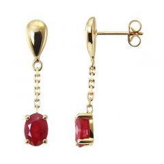 Boucles d'oreilles pendantes Or Jaune 750 Rubis  Ovales 7x5mm