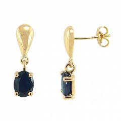 Boucles d'oreilles pendantes Or Jaune 750 Saphir  7x5mm