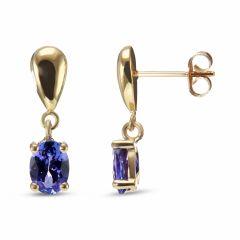 Boucles d'oreilles pendantes Or Jaune 750 Tanzanite 7x5mm