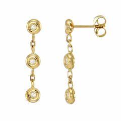 Boucles d'oreilles Pendantes Or Jaune Diamant