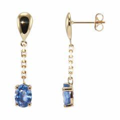 Boucles d'oreilles pendantes Or Jaune Saphir 7x5mm