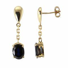 Boucles d'oreilles Pendantes Or Jaune Saphir Ovale 8x6mm