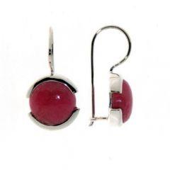 Boucles d'oreilles  Pendantes Rhodonite Ronde 10mm