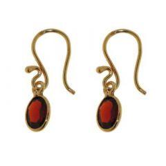 Boucles d'oreilles pendantes Vermeil Grenat ovales 8x6mm