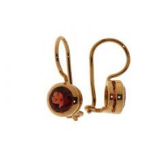 Boucles d'oreilles pendantes Vermeil Grenat ronds 6mm